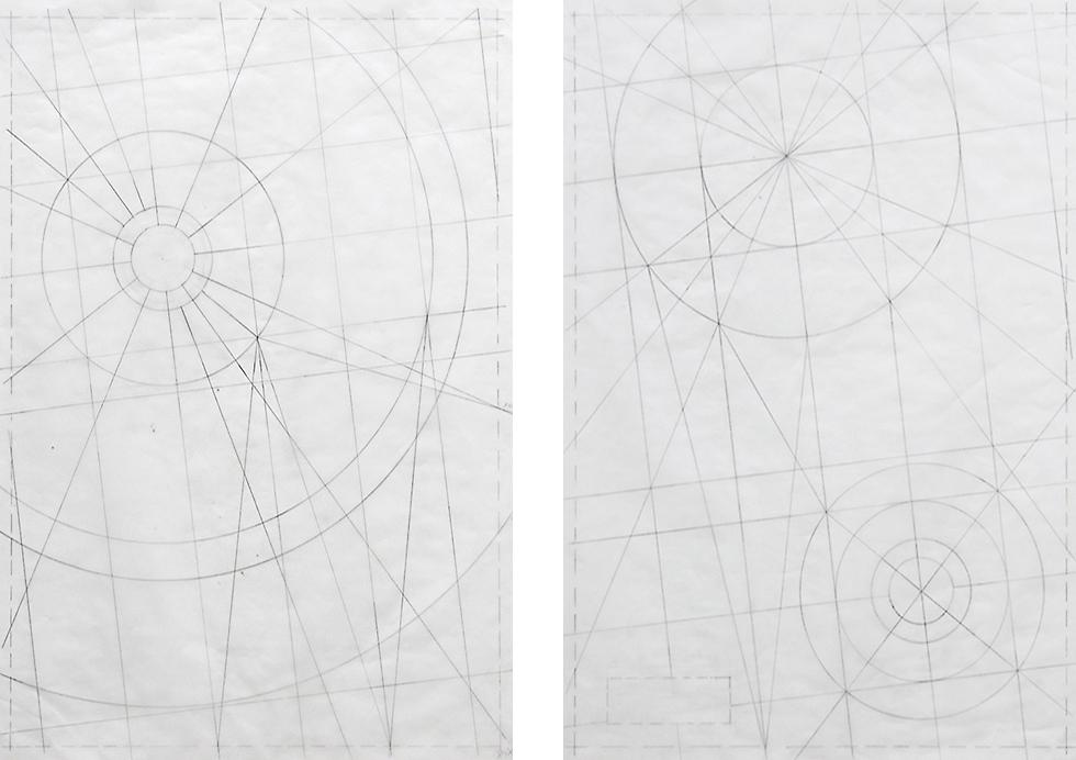 Entwurfszeichnungen / Originalgröße / Bleistift auf Transparentpapier / Kapelle Maurig